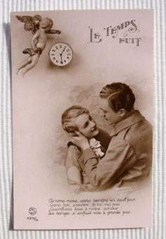 Romantic French Wartime Postcard Unused Time Flies by ChicEtChoc, $5.50