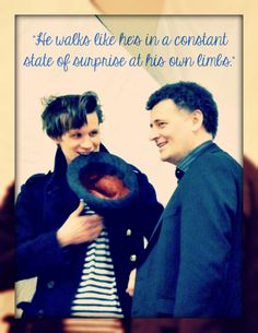 Steven Moffat on Matt Smith's clumsiness. But, seriously, who puts their hat in their mouth just so they can give someone a thumbs-up?