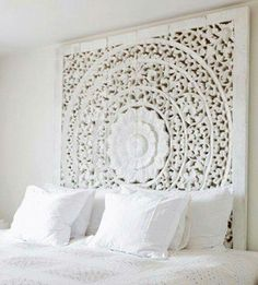 Another Summer/warm Weather Bedroom. Carved Teak Wall Hanging Bed Headboard    Unique White Washed Finish   180 Cm X 180 Cm X (extra Thick Teak Wood)