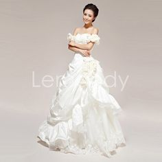 off the shoulder sweetheart princess taffeta with flowers bridal gowns. $236.00, via Etsy.