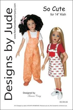 """So Cute Overall & Skirtall Doll Clothes Sewing Pattern 14"""" Kish Dolls #DesignsbyJude"""