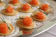 Smoked Salmon roses on little pancakes!