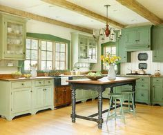 Two Shades of Green Kitchen home green island kitchen decorate large. Didn't think I'd care for green kitchen until I saw one. It's quite attractive. Modern Farmhouse Kitchens, Rustic Farmhouse, Home Kitchens, Country Kitchens, Farmhouse Style, Rustic Kitchen, Green Country Kitchen, Light Green Kitchen, Colonial Kitchen