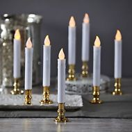 Taper LED Candles with Gold Removable Flameless Holders Remote Set of 8 #4