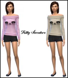 Simista: Kitty Sweaters In Pink And Cream • Sims 4 Downloads