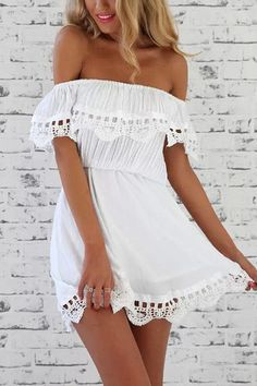 Off Shoulder Elastic Waist Mini Dress with Lace Details