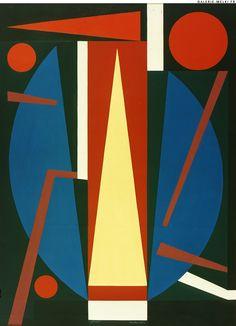 "Auguste HERBIN. ""Germe"".  1954. Oil on canvas. Size in Cm: 100 x 73."