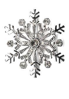 Kim Rogers® Silver-Tone Crystal Snowflake Pin