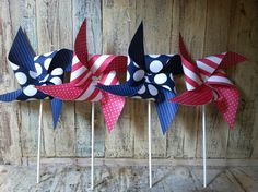 U.S.A set of 8 Red White and Blue Pinwheels. $21.00, via Etsy.