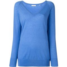 Equipment V-neck jumper (€305) ❤ liked on Polyvore featuring tops, sweaters, blue, v neck jumper, blue top, blue v neck sweater, v neck sweater and v-neck tops