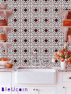 Tile decal: Moroccan encaustic pattern  44 pcs by Bleucoin on Etsy