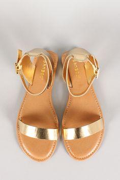 Bamboo Metallic Ankle Buckle Open Toe Flat Sandal