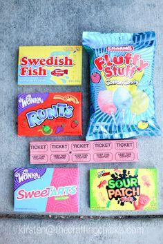 Popcorn and a Movie Night #craftingchicks I LOVE OLD FASHION CANDY thecraftingchicks.com #summerfun #freeprintables