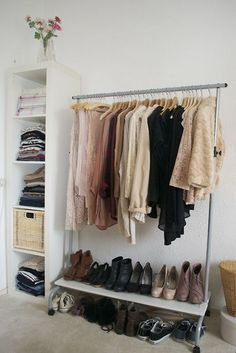 Master closet. Would need two bookshelves. One on each side of the rack.