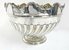 """Antique English, Sterling Silver Large Round Bowl. 11 1/8"""" Diamter x 8 1/8"""" High English, Bowl, Flute, Antique Silver, Sterling Silver, Antiques, Decor, Antiquities, Antique"""