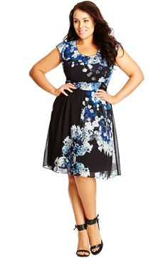 City Chic 'Blossom' Print Side Lace Fit & Flare Dress (Plus Size) available at #Nordstrom