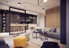 Konyha és nappali kreatívan egy térbe tervezve, lakás fa, fehér és szürke elemek kombinációjával