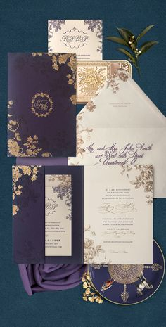 Rustic floral wedding invitation in purple and gold with letterpress and foil accents by Atelier Isabey