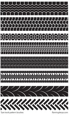Illustrator Brushes 'FREE STUFF – Illustrator tyre track brushes' by FlamingDerps Tyre Tracks, Tire Marks, Tire Tread, Bicycle Art, Bike, Higher Design, Pattern Wallpaper, Motocross, Textures Patterns
