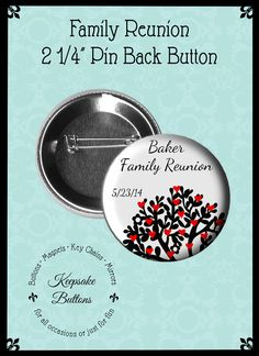 Family Reunion Pins Family Reunion Buttons by KeepsakeButtons