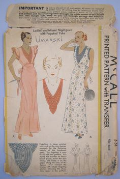 Rare Pattern 30s Vintage NightGown Hollywood Glamour Dramatic Art Deco Deep V Yoke Fagoted Kaumagraph Transfer McCall 331