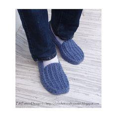 His Denim Loafers Basic Slipper Crochet by PdfPatternDesign