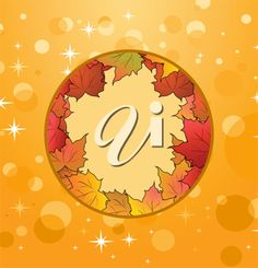 Illustration of autumn frame made in maples - vector