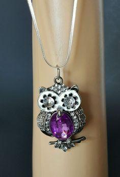Silver Tone Owl Pendant Necklace 18 inch Chain  Purple Halloween Pendant #Unbranded #Pendant