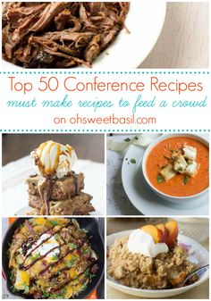 50 general conference recipes - oh sweet basil Potluck Recipes, Healthy Crockpot Recipes, Beef Recipes, Dinner Recipes, Crowd Recipes, Top Recipes, Amazing Recipes, Recipies, Cooking For A Crowd