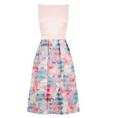 Oasis digital organza midi dress