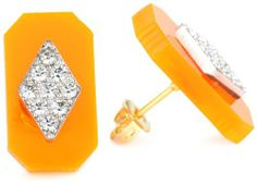 """Sandy Hyun """"Deco Lucite"""" Neon Orange Lucite Crystal Detail with Post Earrings Sandy Hyun. $60.00. Handmade in New York. Made in United States. Neon orange Lucite post earring with clear crystal trim. 18k gold plated ear post. Clean with soft, damp cloth"""