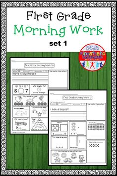 A set of morning work based on my morning work & movement set, without the movement. The great thing about this work is that it is set up so that the kids need little to no guidance to finish it themselves. Reading Fluency Activities, Love Teacher, First Grade Math, Morning Work, Elementary Math, Fun Math, Sight Words, Word Work, Math Lessons