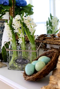 French Country Spring Home Tour | DIY a spring mantel in the family room | #Designthusiasm