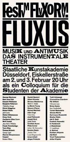 Festum Fluxorum: Posters of Fluxus Festivals Typography Fonts, Graphic Design Typography, Lettering, Fluxus Movement, Fluxus Art, Front Page Design, Nam June Paik, Alphabet City, Theater