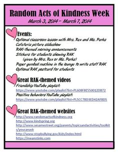 Random Acts of Kindness Week Summary of Events www.elementaryschoolcounseling.org