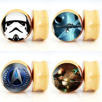 10pair/lot Star Wars and Star Trek Logos Nature Wood Saddle Fit Ear Gauges Plugs And Flesh Tunnels Piercing Jewelry 6mm-25mm