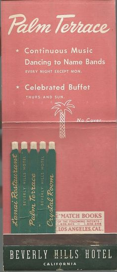 Match book from the Palm Terrace at the Beverly Hills Hotel, California.