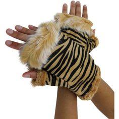 Luxury Divas Black & Beige Zebra Striped Fur Trim Fingerless Gloves
