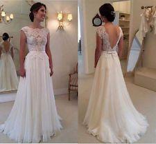 2015 Spitze weiß Elfenbein Hochzeitskleid Brautkleid Brautkleider Größe Brauch +