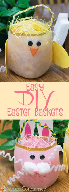 Milk Jug Easter Basket: An Easy Upcycled Craft Easy DIY Easter baskets made using empty milk jugs! This is a great Easter craft for kids.Easy DIY Easter baskets made using empty milk jugs! This is a great Easter craft for kids. Homemade Easter Baskets, Easter Baskets To Make, Easter Egg Basket, Easter Eggs, Easter Art, Easter Decor, Easter Projects, Easter Crafts For Kids, Diy For Kids