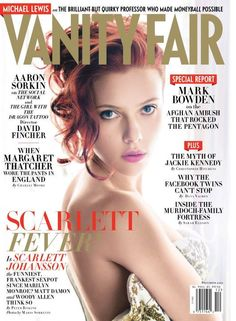 Scarlett Johansson is alluring vision with an over the shoulder look for the December cover of Vanity Fair lensed by Mario Sorrenti. Scarlett Johansson, Fashion Magazine Cover, Fashion Cover, Magazine Covers, Editorial Shoot, Editorial Design, Becoming A Makeup Artist, Vanity Fair Magazine, Michael Lewis