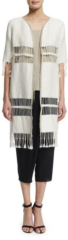 Elie Tahari Rowena Fringe-Striped Long Coat, Ecru