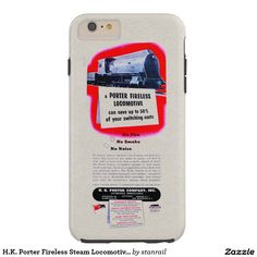 H.K. Porter Fireless Steam Locomotive 1943 Tough iPhone 6 Plus Case; $53.95 - #stanrail -  Case-Mate Tough iPhone 6 Plus Case :  Contoured precisely to fit the iPhone 6 plus with 5.5 inch screen, this Case-Mate case features a hard shell plastic exterior and shock absorbing liner to protect your device.  @stanrails_store