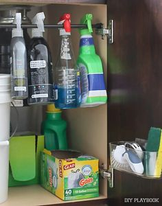 A few smart organization ideas from the DIY Playbook will save you time and space beneath your kitchen sink!