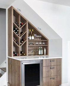 56 trendy home bar under stairs kitchens Bar Under Stairs, Under Stairs Wine Cellar, Kitchen Under Stairs, Basement Stairs, Basement Ideas, Basement Subfloor, Modern Basement, Basement Built Ins, Industrial Basement