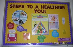 health themed bulletin board display | Steps to a Healthier You! (Food Pyramid) Image
