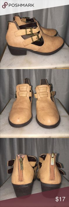 Tan ankle booties Worn once, inside a carpeted house! They are a bit deformed just because of the way I store them but once they are on your feet they look perfect! Soda Shoes Ankle Boots & Booties