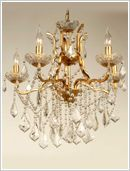 5 Arm Gold Antique French Chandelier