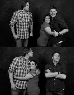 Jensen & Jared with fans. These two are awesome... XD