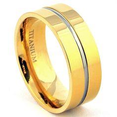 14K Yellow Gold Plated Unisex Titanium Wedding Band Lovieartjewelry